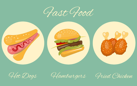 fried chicken: Fast Food Menu - Burgers, Hot Dog and Chicken Advertising in Retro Style. Vector Illustration. Illustration