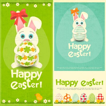 coney: Happy Easter Greeting Cards Set. Easter Bunny holding Easter Egg. Vector Illustration.