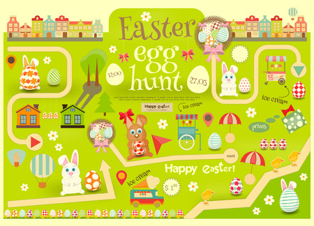 cartoon easter: Easter Invitation Card. Easter Egg Hunt. Vector Illustration.