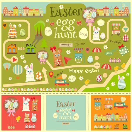 Easter Invitation Card and Easter Elements. Easter Egg Hunt. Vector Illustration.