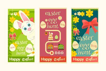 hunt: Easter Invitation Cards set. Mini Poster Easter Egg Hunt. Vector Illustration.