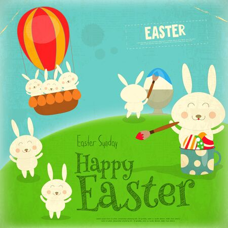 hunt: Easter Card with Easter Bunny. Postcard in Retro Style. Vector Illustration.
