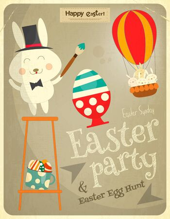 hunt: Easter Card with Easter Bunny. Easter Party Invitation. Postcard in Retro Style. Vector Illustration. Illustration