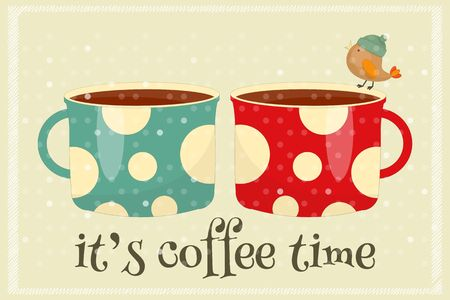 Coffee Time - two Coffee Cups in Retro Style. Vector Illustration.