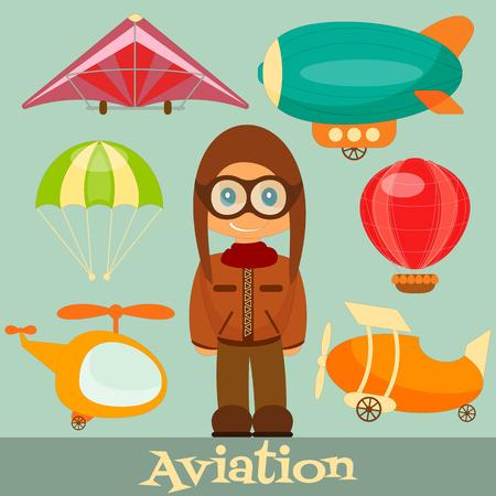 hang gliding: Set of Aero Vehicles. Airman in Uniform. Cartoon Style. Vector Illustration.