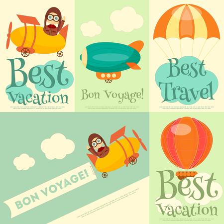 Set di Poster di viaggio con Air Vehicle. Airman in uniforme. Stile cartoon. Illustrazione vettoriale.