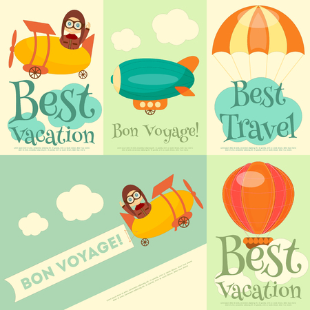 luftschiff: Set-Reise-Plakate mit Air Vehicles. Flieger in Uniform. Cartoon-Stil. Vektor-Illustration.