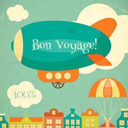 blimp: Travel Poster with Airship. Cartoon Style. Retro Design. Vector Illustration. Illustration