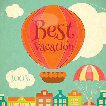 reise retro: Reise-Plakat mit dem Heißluftballon. Cartoon-Stil. Retro Design. Vektor-Illustration. Illustration