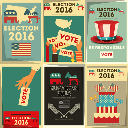 elections: Presidential Election Voting Poster Set. Vector Illustration.