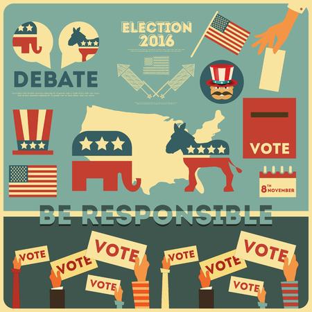 Elementy głosowania wyborów prezydenckich. Ilustracja. Ilustracje wektorowe