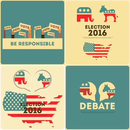 Elezioni presidenziali di voto Poster Set. Illustrazione.