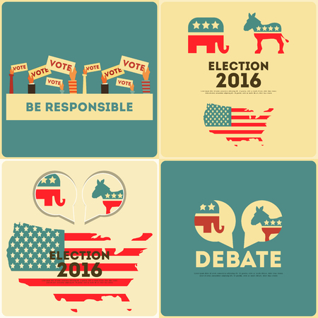 Presidential Election Voting Posters Set. Illustration.