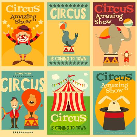 Circo y espectáculos Pósteres retro determinado. Estilo de dibujos animados. Animales de circo y los personajes. Ilustración.