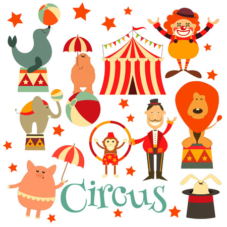 payasos caricatura: Circo Entretenimiento símbolos iconos conjunto. Estilo de dibujos animados. Animales de circo y los personajes. Ilustración.