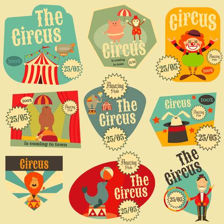 payasos caricatura: Circo Entretenimiento etiquetas Conjunto retro. Estilo de dibujos animados. Animales de circo y los personajes. Ilustración. Vectores