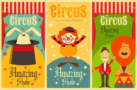 Circus Entertainment Poster vintage set. Stile cartoon. Circo animali e personaggi. Illustrazione.