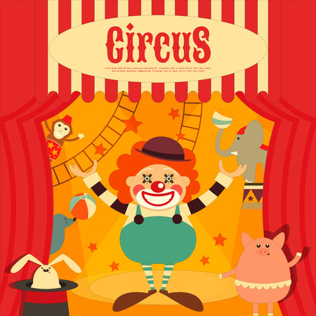 cartoon circus: Circus Entertainment Poster Retro. Cartoon Style. Circus Animals and Characters. Illustration.