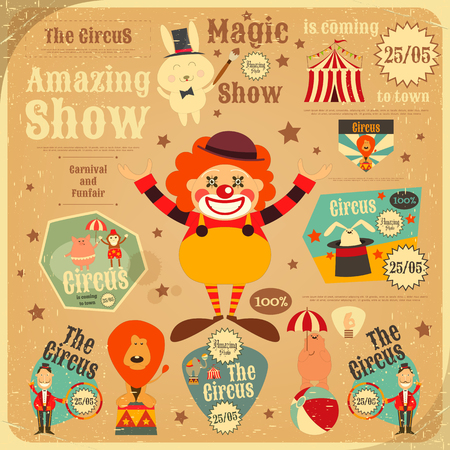 circus clown: Circus Entertainment Poster in Vintage Style. Cartoon Style. Circus Animals and Characters. Illustration.