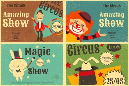 payaso: Circo Entretenimiento Conjunto Cartel en estilo de la vendimia. Estilo de dibujos animados. Animales de circo y los personajes. Ilustración.