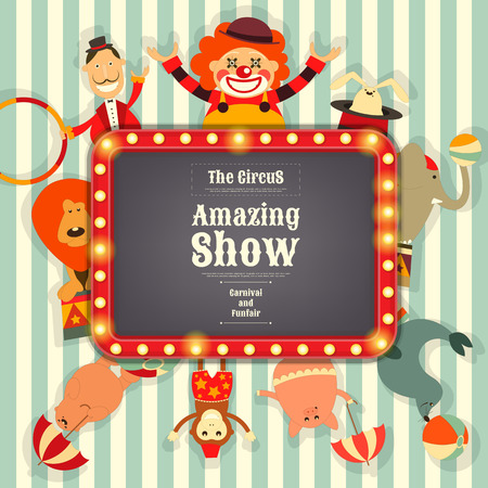 cartoon clown: Circus Funfair and Carnival Advertisement with Place for Text. Cartoon Style. Circus Animals and Characters. Illustration.