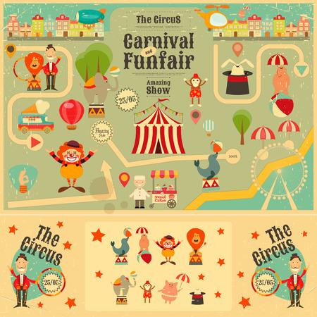 mago: Circo parque de atracciones y Carnaval Cartel en estilo de la vendimia. Estilo de dibujos animados. Animales de circo y los personajes. Ilustración.