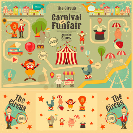 merchant: Circus Funfair and Carnival Poster in Vintage Style. Cartoon Style. Circus Animals and Characters. Illustration.