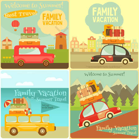 Retro Vehicles with Luggage on Roof.
