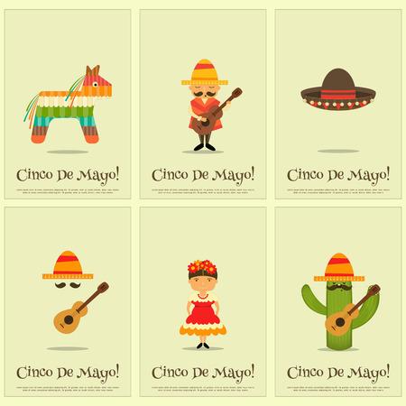 latinoamerica: Cinco de Mayo - Mexican Mini Posters Collection in Retro Style. Illustration