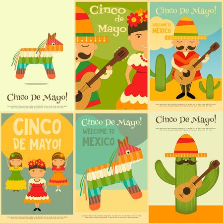 latinoamerica: Mexican Mini Posters Set in Retro Style. Cinco de Mayo. Vector Illustration.
