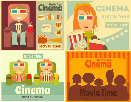 Kino Plakaty Ustaw. Kolekcja filmów tabliczek w stylu retro. Ludzie oglądać filmy. Ilustracja wektora.