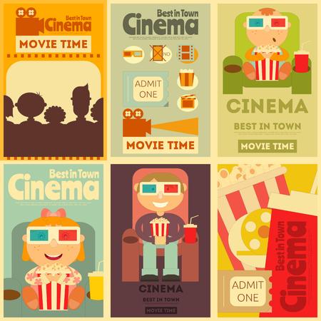 Cinema Mini Posters Set. Movie Collection Placards dans le style rétro.