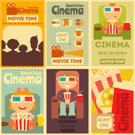 old movies: Cinema Mini Posters Set. Movie Collection Placards in Retro Style.