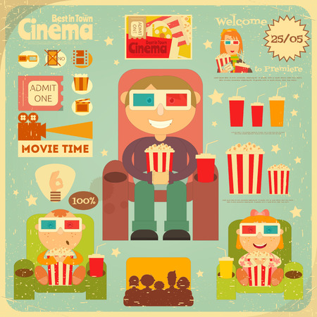 at the movies: Cinema Retro Poster. Movie Collection  in Flat Cartoon Style.