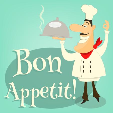 baker cartoon: Cartoon Chef  Holds Dish. Vector Illustration. Illustration