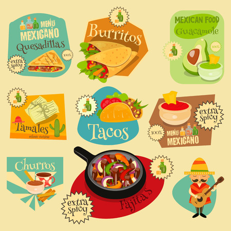 spicy: Mexican Food Menu Mini Labels Set with Traditional Spicy Meal. Vector Illustration. Illustration