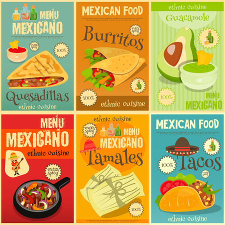 Mexican Food Menu Mini Posters Set with Traditional Spicy Meal. Vector Illustration.  イラスト・ベクター素材