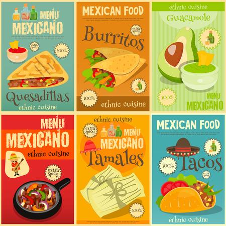 bailar salsa: Menú comida mexicana Mini Posters Set con comida picante tradicional. Ilustración del vector. Vectores