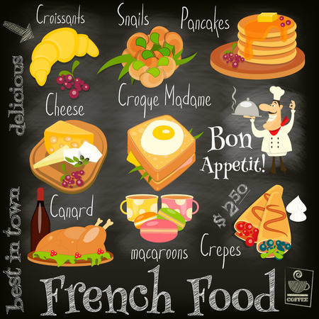 French Food Menu Card with Traditional Meal on Chalkboard Background. Vector Illustration.