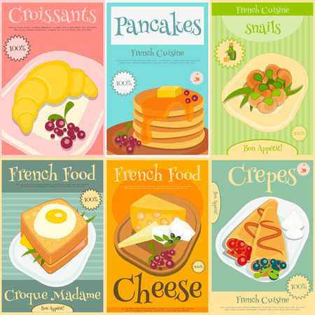 French Food Menu Mini Posters Set with Traditional Meal. Vector Illustration.