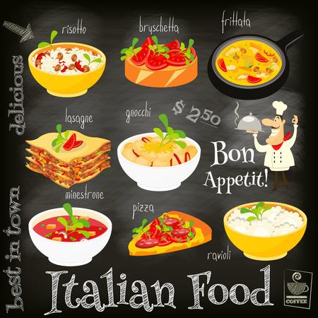 Tarjeta del menú de comida italiana con comida tradicional en el fondo de la pizarra. Cocina italiana. Colección de alimentos. Ilustración del vector.