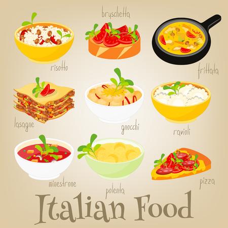 lasagna: Italian Traditional Food Set. Italian Cuisine. Food Collection. Vector Illustration.