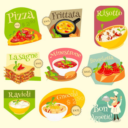 lasagna: Italian Traditional Food Set. Italian Cuisine. Food Collection. Italian Food Labels Set. Vector Illustration. Illustration