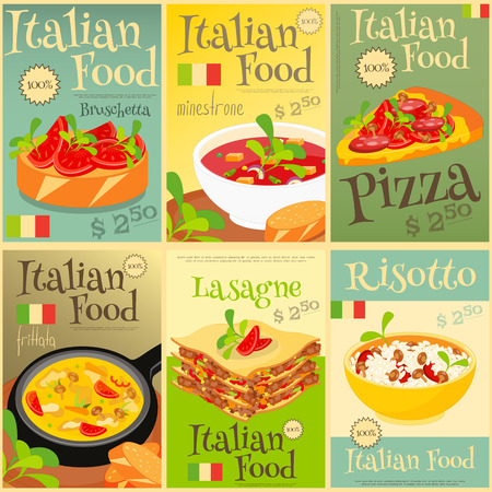 plackard: Italian Food Menu Card with Traditional Meal. Italian Cuisine. Food Collection.  Italian Food Posters Set. Vector Illustration.