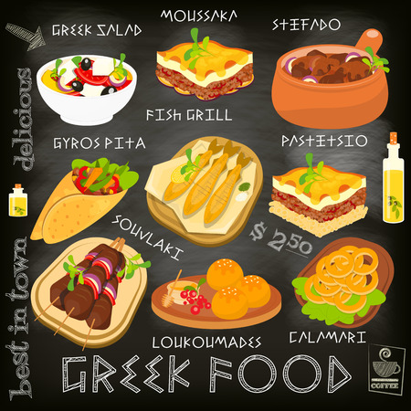 Greek Food Menu Card with Traditional Meal on Chalkboard Background. Greek Cuisine. Food Collection.  Vector Illustration. Ilustração