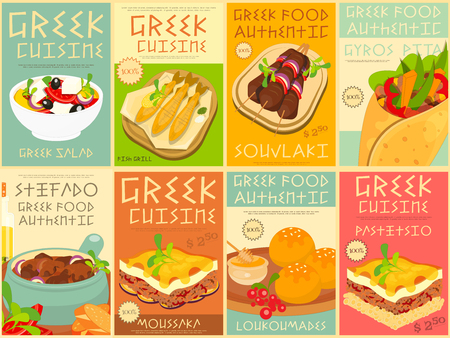 greek food: Greek Food Menu Card with Traditional Meal. Greek Cuisine. Food Collection.  Greek Food Posters Set. Vector Illustration.
