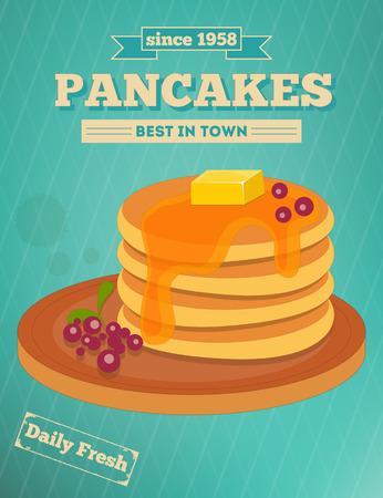 Crepes con mirtillo e miele su sfondo blu - Pubblicità, menu cover. Illustrazione vettoriale.