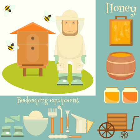 beekeeper: Apiary Set. Apiary Beekeeper, Beehive and Beekeeping Equipment. Vector Illustration. Illustration