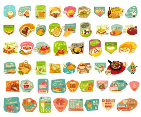 Eten Stickers Grote Reeks op een witte achtergrond. Maaltijd Labels Collecties. Europese keuken. Mexicaans eten. Dessert Collecties.
