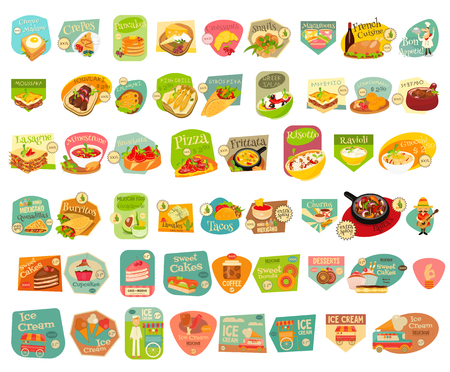 Food Stickers Big Set on White Background. Meal Labels Collections. European Cuisine. Mexican Food. Dessert Collections.